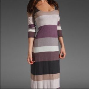 Splendid Organic Long Sleeve Stripe Maxi Dress Sm